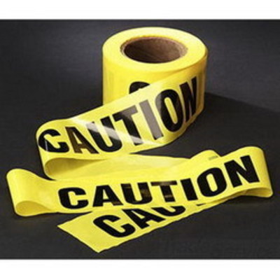 3M 301-Y-3X300FT 3M 301 Barricade Tape; 3 Inch Width x 300 ft Length, Yellow, Caution, Polyethylene Film
