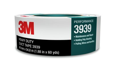 3M 3939-24MMX55M 3M 3939-24mmx55m Duct Tape; 55 m x 24 Inch x 0.23 mm, Polyethylene Film Over Cloth Scrim Backing, Rubber Adhesive, Silver