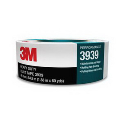 3M 3939 3M 3939-48MMX55M Heavy Duty Duct Tape; 54.8 m x 48 Inch x 0.23 mm, Polyethylene Film Over Cloth Scrim Backing, Rubber Adhesive, Silver