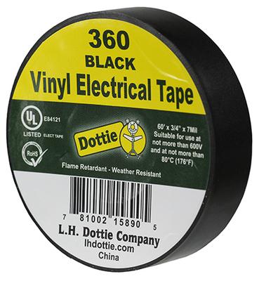 Dottie Co L.h. 360 360 DOTTIE 3/4 X 60' X 7 MIL. ELECTRICAL TAPE (BLACK)