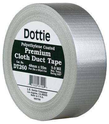 """Dottie Co L.h. DT260 Dottie DT260 Builders Duct Tape; 60 Yard Length x 2"""" Width, Silver"""