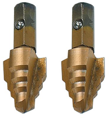 Dottie Co L.h. RTTP6000 L.H. Dottie RTTP6000 2-Pack Replacement Step Drill Tip Kit; Includes (1) 11/8 Inch Replaceable-tip Tri-Point Step Bit and (1) 7/8 Inch Replaceable-tip Tri-Point Step Bit, M2 High Speed Steel, Titanium/Cobalt