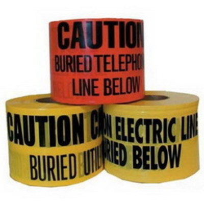 Dottie Co L.h. UT33D L.H. Dottie UT33D Underground Tape; Non Adhesive Polyethylene, 1000 ft Length x 6 Inch Width x 5 mil Thick, Red, Caution Buried High Voltage Line Below