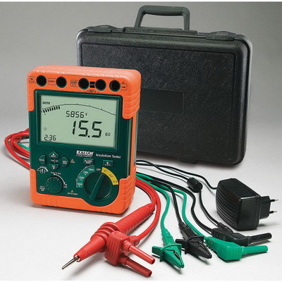Extech 380395 FLIR (Extech) 380395 High-Voltage Digital Insulation Tester; 500/1000/2500/5000 Volt, 60 giga-ohm, Large 6000 Count With Bargraph and Backlight
