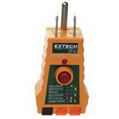 Extech ET10 FLIR (Extech) ET10 GFCI Receptacle Tester; For Faulty Wiring In 3-Wire Receptacles