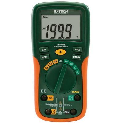 Extech EX205T FLIR (Extech) EX205T True-RMS Multimeter; 600 Volt AC/DC, 10 Amp AC/DC, 200 Ohm to 0.01 milli-ohm, +/- 0.5% Basic Accuracy (Volt DC)