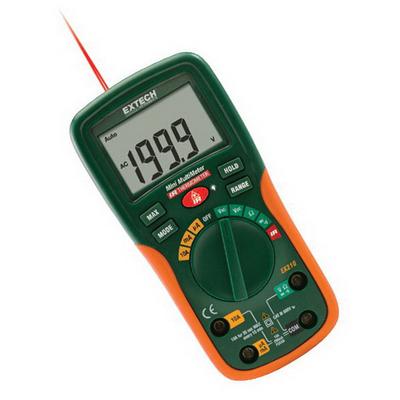Extech EX210T FLIR (Extech) EX210T True-RMS Digital Multimeter; 600 Volt AC/DC, 10 Amp AC/DC, 20 milli-ohm, +/- 0.5% Basic Accuracy (Volt DC)