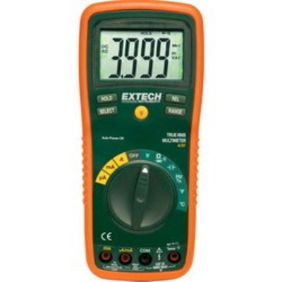 Extech EX430 FLIR (Extech) EX430 EX400 Series True-RMS Professional Auto-Ranging Multimeter; 0.1 Milli-Volt - 750 Volt AC/0.1 Milli-Volt - 1000 Volt DC, 0.1 Micro-Amp - 20 Amp AC/DC, 0.001 Hz - 10 Mega-Hz, 0.1 Ohm - 40 mega-ohm