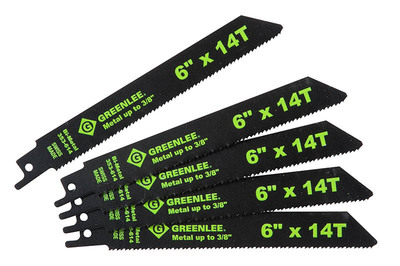 Greenlee 353-614 Greenlee 353-614 Bi-Metal With Cobalt Reciprocating Saw Blade; 6 Inch, 3/4 Inch, 14 TPI, 5/Pack
