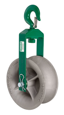 Greenlee 8012 Greenlee 8012 Sheave Assembly; 1 Inch Hook Opening, Strong Welded Steel Frame, Forged Steel Hook, Aluminum Alloy Sheaves