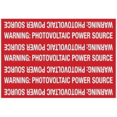 Hellermann Tyton 596-00208 Hellermann Tyton 596-00208 Pre-Printed Solar Marker; 7.250 Inch Width x 5 Inch Height, White/Red, WARNING: PHOTOVOLTAIC POWER SOURCE, 50/Roll