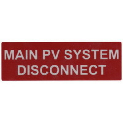 Hellermann Tyton 596-00243 Hellermann Tyton 596-00243 Pre-Printed Reflective Solar Label; 5.500 Inch Width x 1.750 Inch Height, White/Red, MAIN PV SYSTEM DISCONNECT, 50/Roll