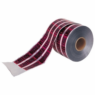 Ideal 42-251 Ideal 42-251 Detectable Underground Tape; 1000 ft x 6 Inch x 5 mil, Caution Buried Fiber Optic Line Below, Solid Aluminum Foil Core, PE Bottom Layer, PET Top Layer, Black On Red Background