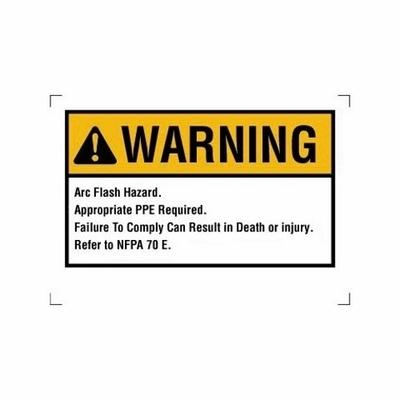 Ideal 44-892 Ideal 44-892 Self-Sticking Rectangular Arc Flash Warning Label; Polyester, Black Legend, Yellow/White Background, 5/PK