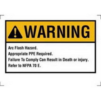 Ideal 44-895 Ideal 44-895 NEC Arc Flash Protection Sign and Label; Warning, Self-Sticking Polyester, 7 Inch x 5 Inch, White/Yellow, Black Legend