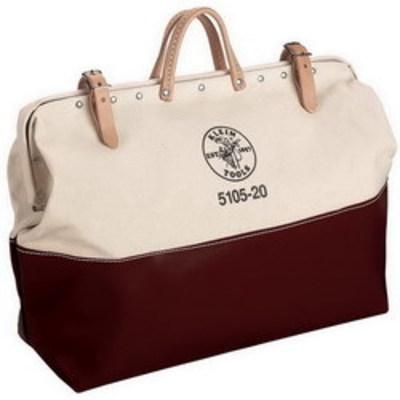 Klein Tools 510524 Klein Tools 5105-24 Tool Bag; No. 8 Canvas Body and Naugahyde Bottom, White