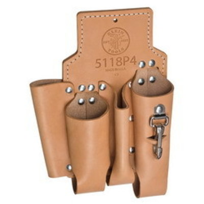 Klein Tools 5118P4 Klein Tools 5118P4 Multi Pocket Lineman Tool Pouch; 4 Pocket, Leather