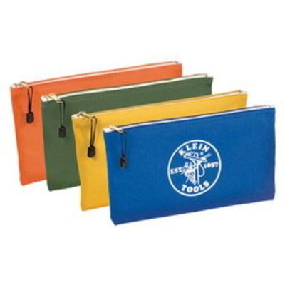 Klein Tools 5140 Klein Tools 5140 Zipper Bag; Canvas, 4 Pack, Orange/Olive/Yellow/Royal Blue