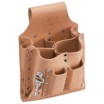 Klein Tools 5164T Klein Tools 5164T Tool Pouch with Tunnel Loop; 2-1/2 Inch Belt Width, Leather, 8 Pockets