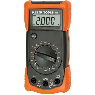Klein Tools MM100 Klein Tools MM100 Manual Ranging Professional Series Multimeter; 0 - 600 Volt, 10 Amp, 50 - 60 Hz, 2 mega-ohm