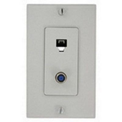 Leviton 40159-W Leviton 40159-W Decora® 1-Gang Wallplate; Screw, (1) 6P4C F-Type Connector, White