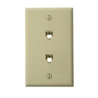 Leviton 40244-I Leviton 40244-I Standard Wallplate; Flush/Screw, (2) 6P4C Jack, High Impact Plastic, Ivory