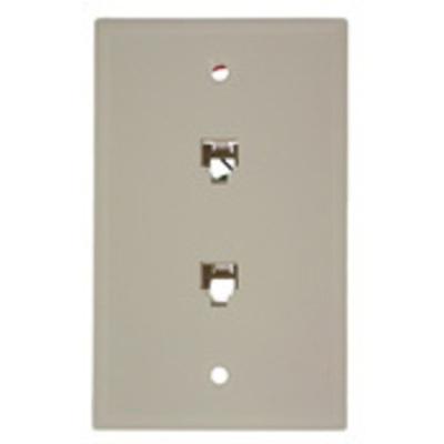 Leviton 40244-T Leviton 40244-T Standard Wallplate; Flush/Screw, (2) 6P4C Jack, High Impact Plastic, Light Almond