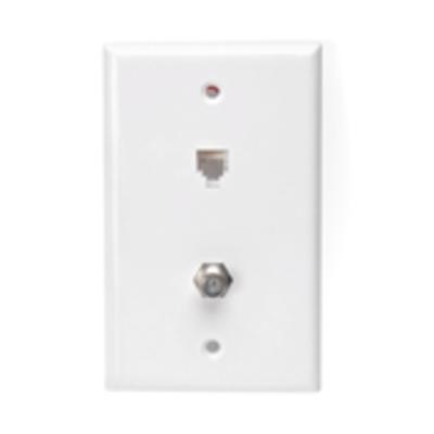 Leviton 40258-W Leviton 40258-W eXtreme® Telephone and Video Wall Jack; Box, Flush Mount, High-Impact Plastic, White