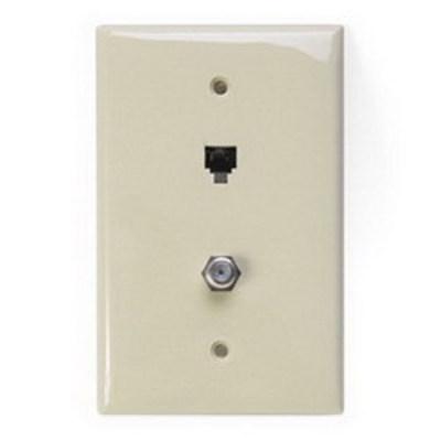 Leviton 40539-CMI Leviton 40539-CMI 1-Gang Midway Wallplate; Flush/Screw Terminal, (1) 6P4C F-Type Connector, Nylon, Ivory