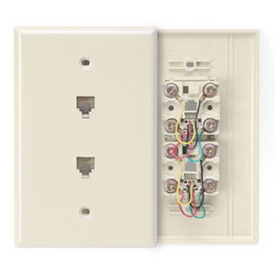 Leviton 40544-W Leviton 40544-W Type 625B3 Midsize Duplex Telephone Wall Jack; Screw Connection, 6-Positions, 4-Contacts, ABS Plastic, White