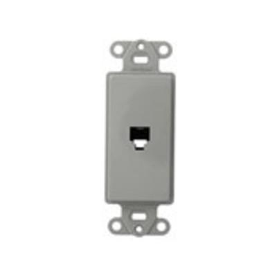 Leviton 40649-GY Leviton 40649-GY Decora® Wallplate; Flush/Screw, (1) 6P4C Jack, High Impact Plastic, Gray