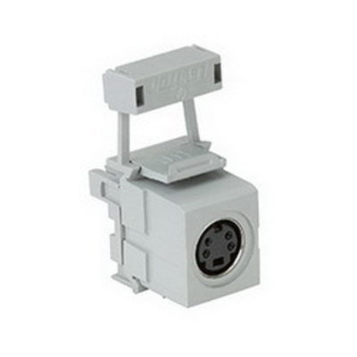 Leviton 40734-SVG Leviton 40734-SVG QuickPort® S-Video Connector; 110 Termination-To-Female, Snap-In Mount, Plastic, Gray