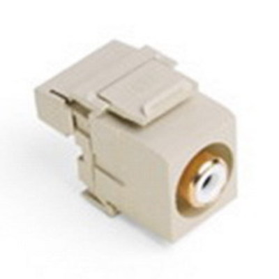 Leviton 40735-RWI Leviton 40735-RWI QuickPort® RCA 110 Punchdown Category 5 Connector; Snap-In/Surface/Flush Mount, Ivory/White