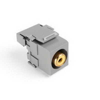 Leviton 40735-RYG Leviton 40735-RYG Straight RCA 110-Termination QuickPort Connector; Snap-In, Surface/Flush Mount, Gold-Plated, Yellow Barrel/Gray Housing