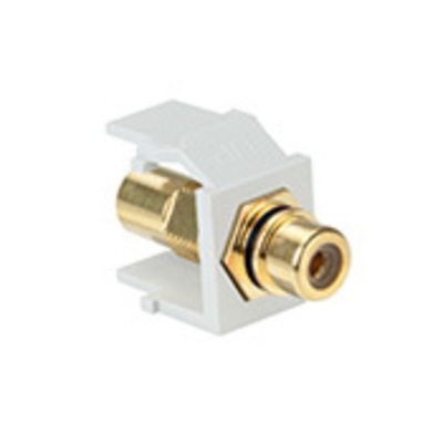 Leviton 40830-BWE Leviton 40830-BWE QuickPort® RCA Connector; Snap-In Mount, White With Black Stripe