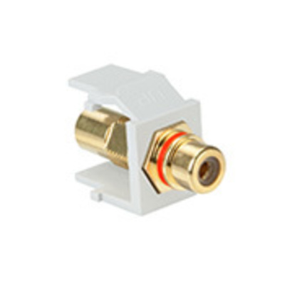 Leviton 40830-BWR Leviton 40830-BWR QuickPort® RCA Connector; Snap-In Mount, White With Red Stripe