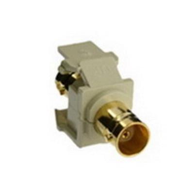 Leviton 40832-BI Leviton 40832-BI QuickPort® F-Type BNC Bulkhead Module; Feed-Through, Snap-In, Surface, Flush Mount, High Impact Plastic, Ivory, Gold-Plated