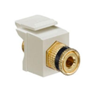 Leviton 40833-BIE Leviton 40833-BIE QuickPort® Snap-In Binding Post Connector; Feedthrough/Screw Terminal, Surface/Flush, Plastic, Black Stripe, Ivory Housing, 5-15 um Gold Flash-Plated