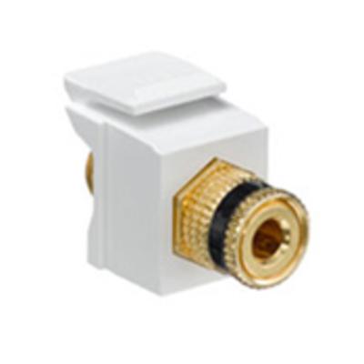 Leviton 40833-BWE Leviton 40833-BWE QuickPort® Snap-In Binding Post Connector; Feedthrough/Screw Terminal, Surface/Flush, Plastic, Black Stripe, White Housing, 5-15 um Gold Flash-Plated