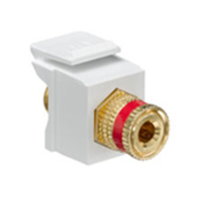 Leviton 40833-BWR Leviton 40833-BWR QuickPort® Snap-In Binding Post Connector; Feedthrough/Screw Terminal, Surface/Flush, Plastic, Red Stripe, White Housing, 5-15 um Gold Flash-Plated