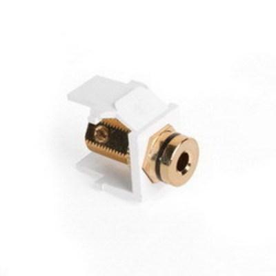 Leviton 40837-BWE Leviton 40837-BWE QuickPort® Banana Jack Connector; Feedthrough/Screw Terminal, Surface/Flush, Plastic, Black Stripe, White Housing, 5-15 um Gold Flash-Plated