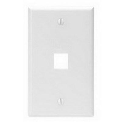 Leviton 41080-1WP Leviton 41080-1WP 1-Gang Standard Wallplate; Box, (1) Port, High Impact Flame Retardant Plastic, White