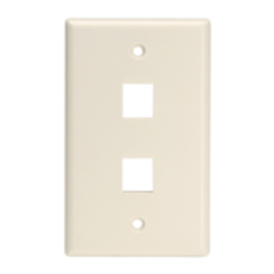 Leviton 41080-2TL Leviton 41080-2TL QuickPort® 1-Gang Wallplate; Flush Mount, Plastic, Light Almond