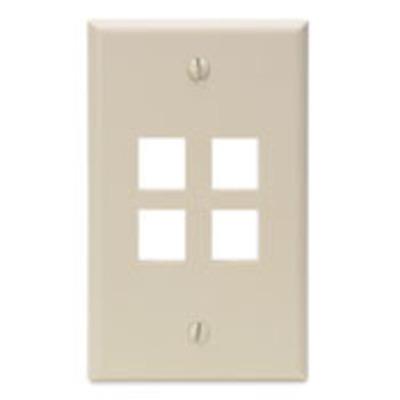 Leviton 41080-4IP Leviton 41080-4IP 1-Gang Standard Wallplate; Box, (4) Port, High Impact Flame Retardant Plastic, Ivory
