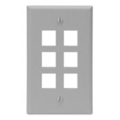Leviton 41080-6GP Leviton 41080-6GP 1-Gang Standard Wallplate; Box/Flush, (6) Port, High Impact Flame Retardant Plastic, Gray