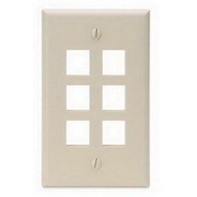 Leviton 41080-6IP Leviton 41080-6IP 1-Gang Standard Wallplate; Box/Flush, (6) Port, High Impact Flame Retardant Plastic, Ivory