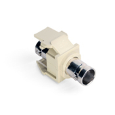 Leviton 41084-BIF Leviton 41084-BIF QuickPort® BNC Feed-Through Connector; Snap-In Mount, Nickel-Plated Finish, Ivory, 50 Ohm, Shielded Video and Data Cable