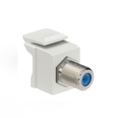 Leviton 41084-FTF Leviton 41084-FTF QuickPort® RG-6/RG-59 Female F-Type Coaxial Connector; Snap-In/Surface/Flush Mount, Light Almond/Blue