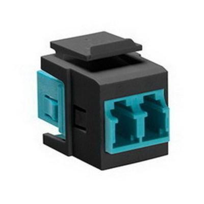 Leviton 41085-LLE Leviton 41085-LLE QuickPort® Duplex LC Fiber Optic Adapter; Black/Aqua