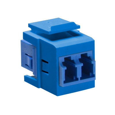 Leviton 41085-SLL Leviton 41085-SLL QuickPort® LC Series Duplex Fiber Optic Adapter; Single Mode, Snap-In Mount, Zirconia Ceramic, Blue